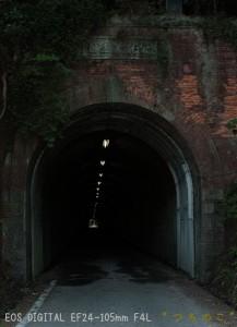 煉瓦が表面が剥がれて傷んでいます 府能隧道は右書き